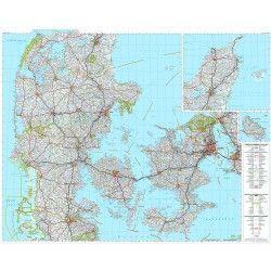 Landkaart Denemarken 1:300.000 met plaatsnamenregister