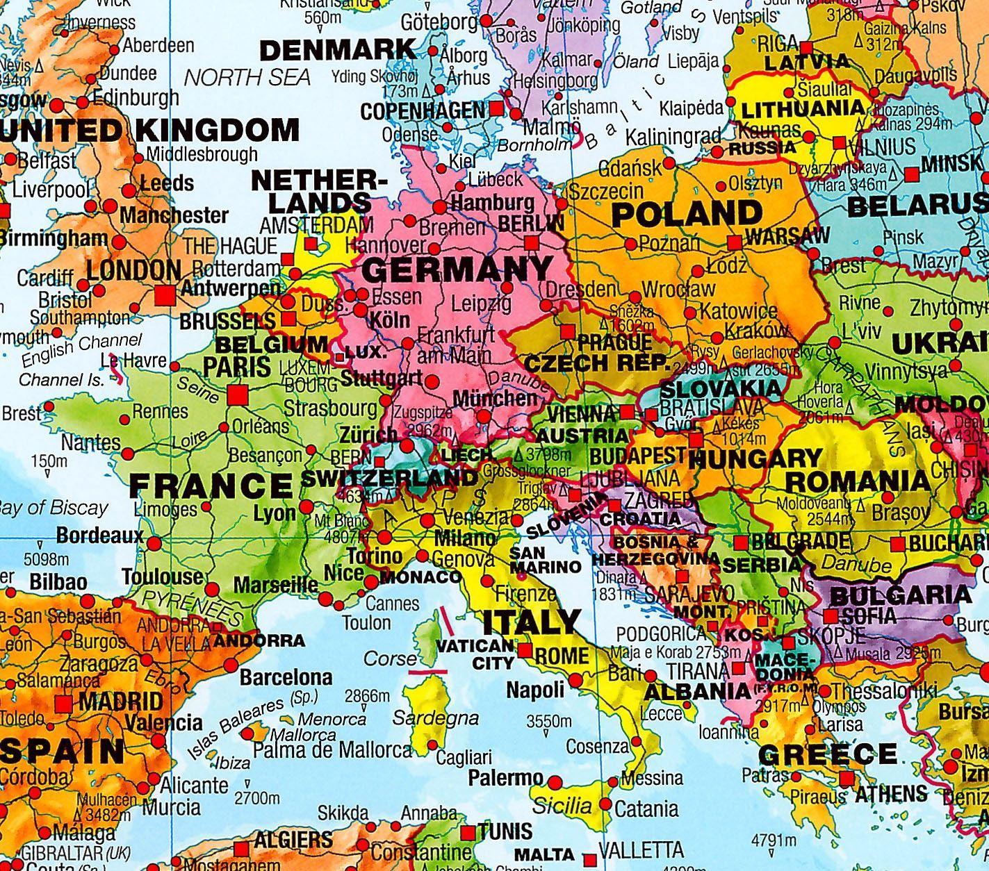 Wereldkaart N Engelstalig