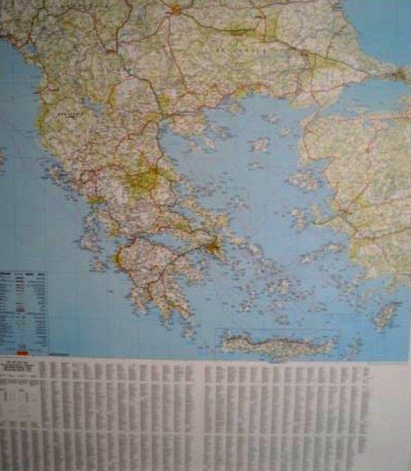 Landkaart Griekenland met plaatsnamenregister