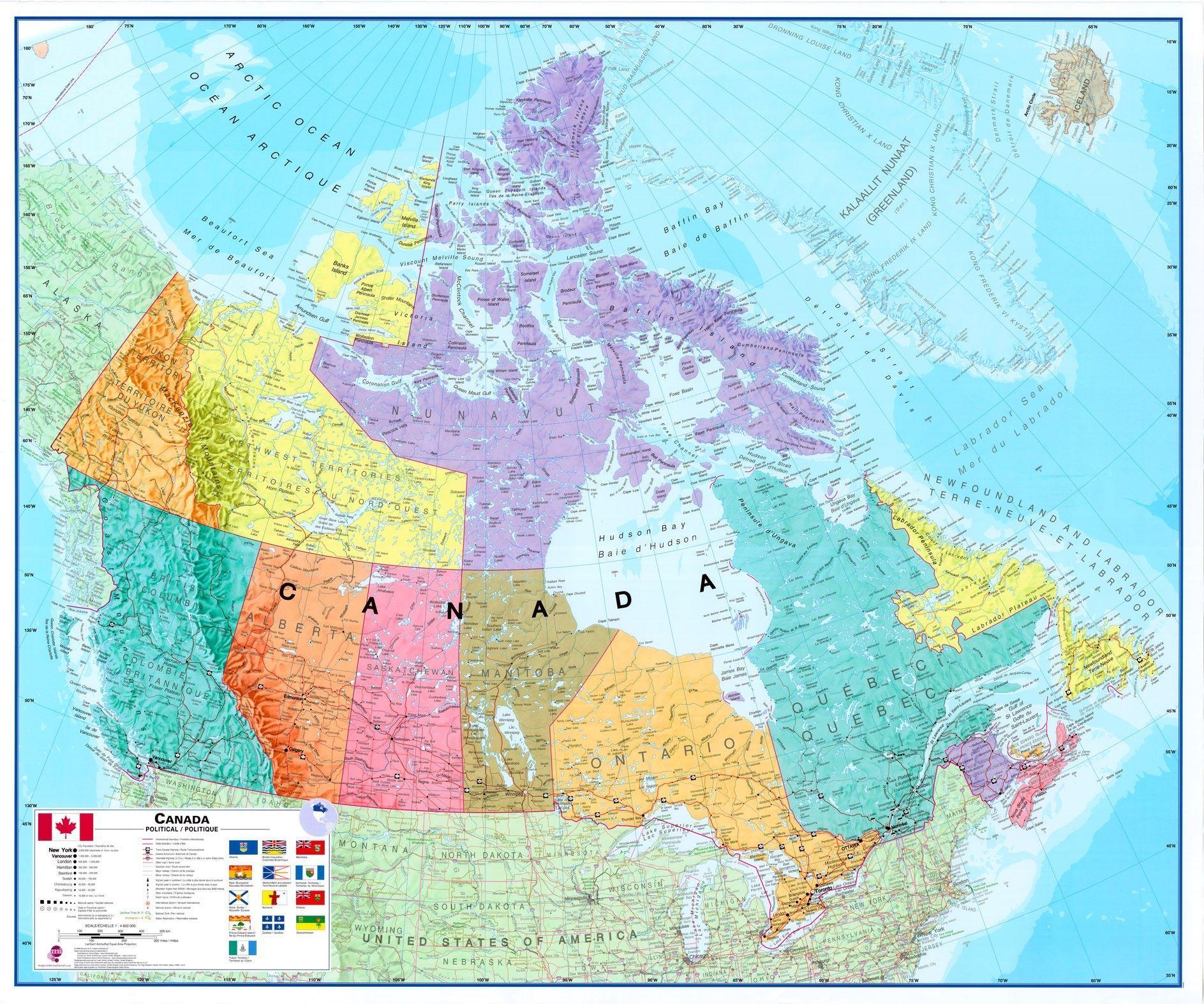 Landkaart Canada