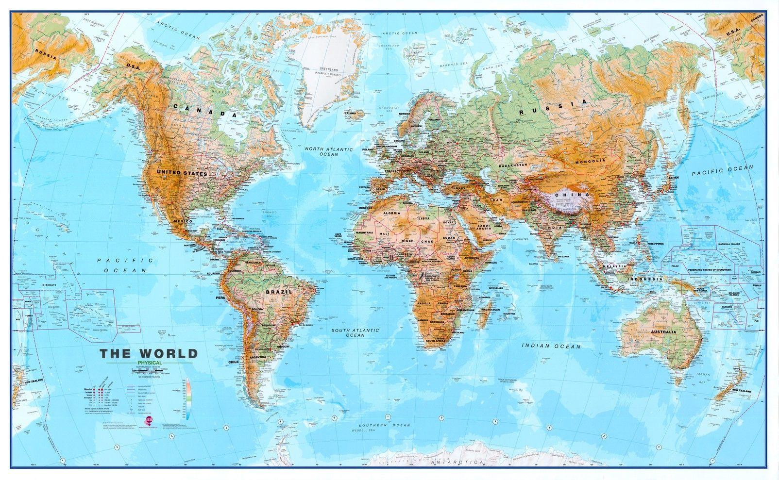 Wereldkaart D Natuurkundig