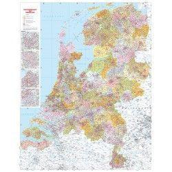 2-3 en 4-cijferige Postcodekaart Nederland 1:250.000