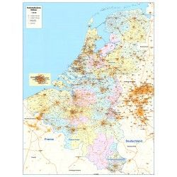 4-cijferige Postcodekaart Benelux 1:390.000
