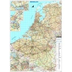 Landkaart Benelux de Rouck Geocart 1:350.000 met plaatsnamenregister