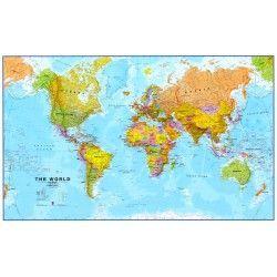 Wereldkaart FEngelstalig Maps International Staatkundig 1:30.000.000