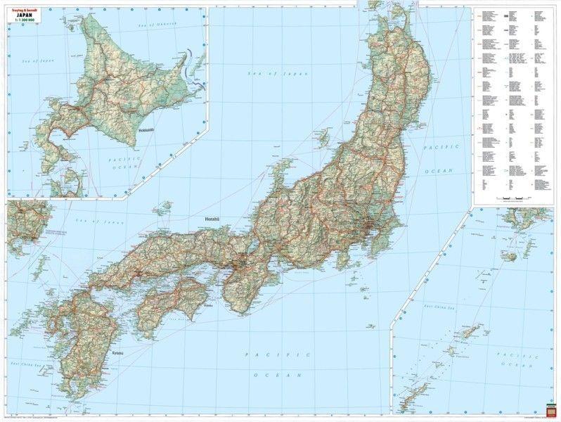 Landkaart Japan 1:1.300.000