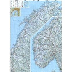Landkaart Noorwegen 1:800.000 met plaatsnamenregister