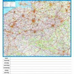 Landkaart Belgie Falk 1:250.000 met weekplanning met plaatsnamenregister