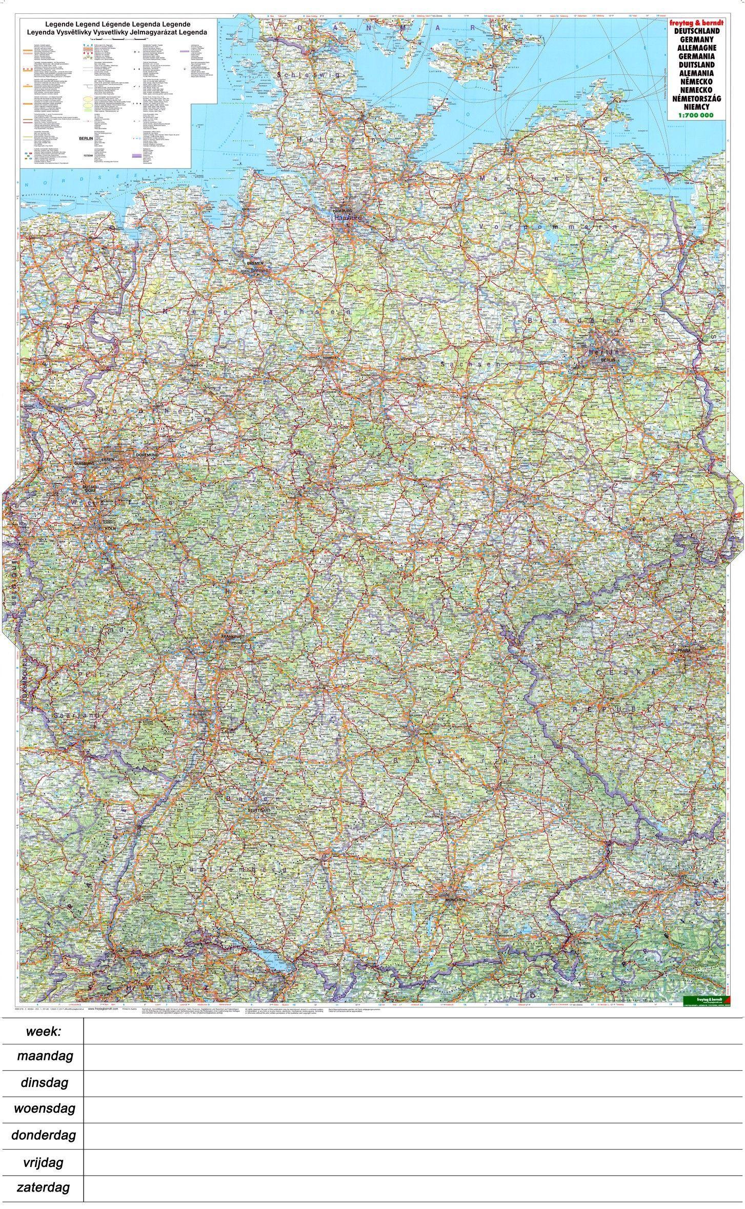 Landkaart Duitsland 1:7000.000 met weekplanning met plaatsnamenregister