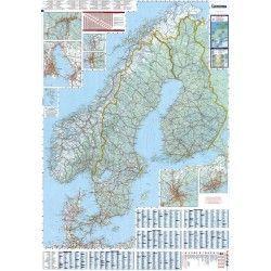 Landkaart Scandinavie 1:1.500.000 met plaatsnamenregister