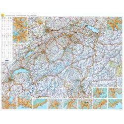 Landkaart Zwitserland 1:303.000 met plaatsnamenregister