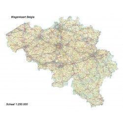 Landkaart Belgie 1:250.000 zonder buurlanden