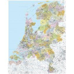 4-cijferige Postcodekaart Nederland 1:250.000