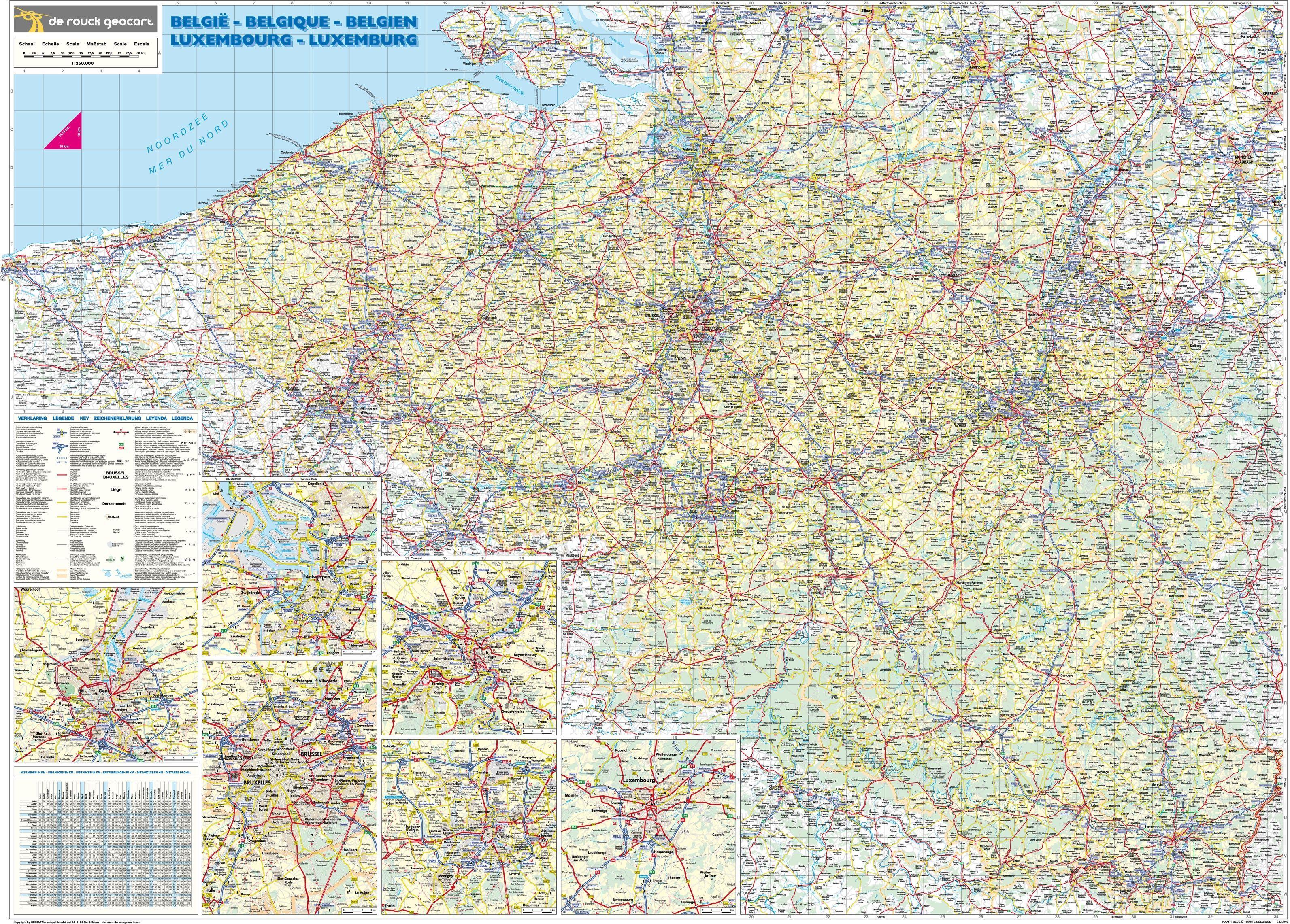 Landkaart Belgie de Rouck Geocart 1:250.000 met plaatsnamenregister