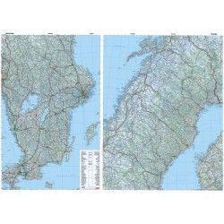 Landkaart Zweden 1:800.000 met plaatsnamenregister